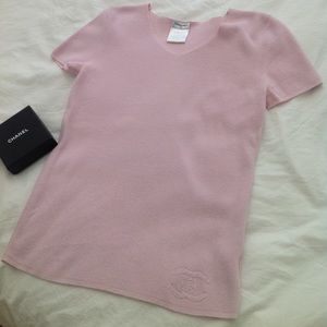 Authentic Chanel logo knit shirt Blouse coco 42